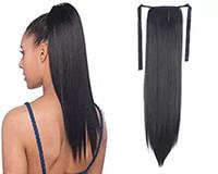 cabello humano recta cola de caballo al por mayor-100% Natural Remy humana brasileña del pelo de cola de caballo Cola de caballo clips en / sobre la extensión del pelo humano 100g Cabello liso