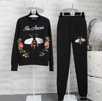 Wholesale tracksuit women flowers - Women Tracksuit Streetwear Bee flower patch Embroidery Sweater and Pants suits Women 2 pieces sets