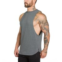 Wholesale athletic tank tops - New 2018 gyms Athletic clothing for men workout singlet bodybuilding stringer tank top men fitness vest muscle sleeveless T shirt