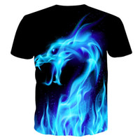Wholesale 3d t shirt snake resale online - Cool T shirt Men Women d Tshirt Print Blue Fire Snake Short Sleeve Summer Tops Tees T shirt Fashion
