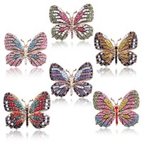 Wholesale gold butterfly pins resale online - Butterfly Brooch designer Brooches Multi Color Rhinestone Crystal Pins Vintage Fashion Women Wedding Bridal Garments Clothes Pins