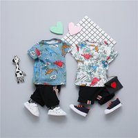 Wholesale autumn children s clothing online - Summer Children Clothes Kids Short Sleeve Fruits Pattern Top Pants Outfits Colors s l