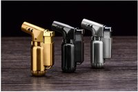 Wholesale mini torches lighters - METAL Windproof Butane Gas lighter metal Cigar Cigarette Lighter mini Refillable jet flame torch Dabs Jet Butane Torch golden grey silver