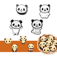 Wholesale Pocket Sandwich - Cute Panda Pocket Cookie Kit Sandwich Bread Mold Cutters and Stamps Set of 4 Valentine's Day Gifts