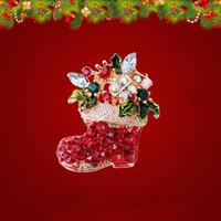 ingrosso stivali di zinco-Spilla di design di stivali natalizi in fornitori di decorazioni natalizie per strass intarsio in zinco