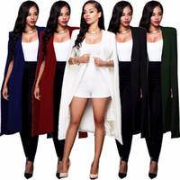 женщины с плюс блейзеры оптовых-Loneyshow Мода Кейп Пальто Блейзер Длинный Плащ Блейзер Куртки Черный Белый Личность Женщины Костюм Куртки Плюс Размер