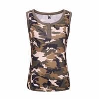 coletes verdes do exército para mulheres venda por atacado-Novo Verão das Mulheres Do Exército Verde Camo T-shirt Feminino sem mangas Colete sexy Camuflagem camiseta Casual Tee Tops Plus Size