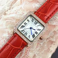 sehen preis japan großhandel-Art- und Weiserot- / Schwarzfrauen-Uhruhr des echten Leders Dame Dress Uhr Großhandelspreis Square Dial Face Diamonds Japan Movement Party Quartz