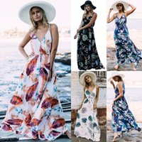 Wholesale womens plus clothing - 2018 Summer Floral Print Maxi Dresses Womens Beach Club Casual Loose Chiffon Sleeveless V Neck Long Plus Size Fashion Boho Clothes FS3436