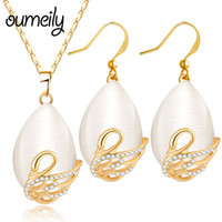 серебряный комплект опаловых украшений оптовых-OUMEILY  Bridal Opal Jewelry Sets Swan Crystal African  Jewelry Set Gold/Silver Color Vintage Statement Necklace Set