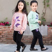 Wholesale t shirts for girls embroidery - Girls flower embroidery casual outfits 2pc sets long sleeve flower T shirt+black pants cute clothing for 2-8T B11