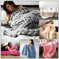 Wholesale Animal Sofa - 8 Colors 80*100cm Chunky Knit Blanket Merino Wool Handmade Blanket Sofa Air Condition Bed Weave Knitted Photography Blankets CCA8465 10pcs