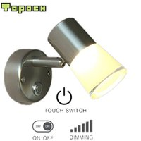ingrosso dimmer della parete 12v-Lampade da parete orientabili Topoch Montaggio a parete 12V Touch Interruttore ON / OFF / dimmer Base in alluminio lucido + Custodia in acrilico Finitura nichel per camper