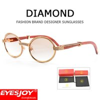 Wholesale hot diamonds men - Metal Diamond Frame Carved Designs Wooden Sunglasses Brands Glasses Hot Selling Full Rim Retro Glasses Sunglasses for Women Men CT53-22