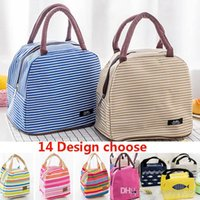 Wholesale insulated lunch tote bags women resale online - Women Lunch Bag Tote Insulated Picnic Bag Stripe Thermal Box Container Canvas Bags Large Capacity Food Storage Box Bottle Make FBA TY7