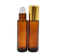 ölflaschen goldkappe großhandel-10ml 1 / 3oz DICK ROLL ON Amber GLASFLASCHE Fragrances ESSENTIAL OIL Edelstahl Roller Ball Parfümflasche mit Gold Kappe