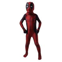 deadpool costume venda por atacado-Vingadores: Infinito War kid Deadpool Costume com Máscara Spandex Deadpool Traje Cosplay Superhero fantasia infantil cosplay