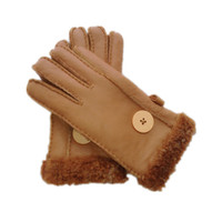 guantes de piel de conejo negro al por mayor-Guantes de lana nuevos y elegantes de 2018 Guantes elegantes y cálidos Guantes anticongelantes a prueba de viento