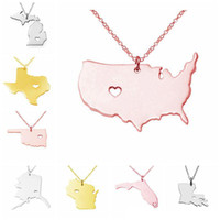 Wholesale US State Map Pendant Necklace Stainless Steel Rose Gold with Love Heart USA State Geography Map Necklaces Charm