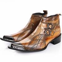 bota de vestir marrón de los hombres al por mayor-New Brown Botas de tobillo para hombres con punta estrecha Otoño otoño Botas de cuero genuino Hombre Botas militares de vaquero Zapatos de vestir