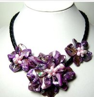 Wholesale Necklace Pearl Big Shell - stunning big handmade baroque shell pearl flower leather necklace