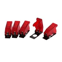 Wholesale toggle covers - Plastic 12mm Toggle Switch Safety Cover Protector Cap Guard 5pcs Red