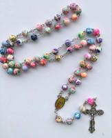 18k rosenkette großhandel-Perlen Halskette Catholic Rosenkranz Lange 56cm Kette Jungfrau Maria und Jesus Kreuz Zubehör Gebet Schmuck schnell kostenloser Versand