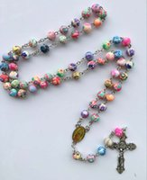 freie katholische rosenkränze großhandel-Perlen Halskette katholischen Rosenkranz lange 56cm Kette Jungfrau Maria und Jesus Kreuz Zubehör Gebet Schmuck schnelles freies Verschiffen