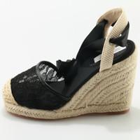 ingrosso cunei in pizzo nero-Stabile confortevole donna cunei sandali con zeppa alla moda in pizzo nero con lacci scarpe cinturino alla caviglia vestito estivo scarpe da ufficio