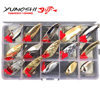 ingrosso scatola d'ape-15pcs / set Metallo Spinner Spoon Fishing Lure Hard Baits Treble Hook Fishing Tackle Boxes
