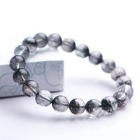 Wholesale rutilated crystal resale online - Natural Black Rutilated Quartz Round Crystal Beads Bracelet mm Newly Fashion Women Men Crystal Beads Stone Bracelet