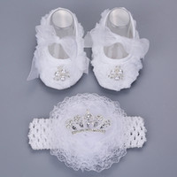 Wholesale Newborn Baptism Headband - 2016 New Style Rhinestone Imperial Crown Newborn Baby Shoes Headband Set ,White Baptism Baby Girl Shoes ,Toddler First Walkers