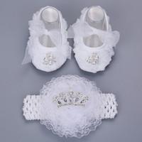 ingrosso camminatore bambino bianco-2016 Nuovo stile strass Imperial Crown neonato scarpe set fascia, battesimo bianco Baby Girl Shoes, primi camminatori del bambino