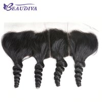 Wholesale suit bundles resale online - Brazilian Virgin Hair Extensions Loose Wave x4 Ear to Ear Lace Frontal Silky Straight Top Hair Closure Suited with Human Hair Bundles