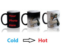 Wholesale Photos Cup - Magic Mug Custom Photo Heat Color Changing Morph Mug 300ml Coffee Cup Beer Milk Mug With Cookie Gift Wholesale Cheap