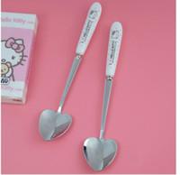 hayvan sıkışması toptan satış-10 Adet Karikatür Hello Kitty Seramik Kolu Paslanmaz Çelik Aşk Kalp Kaşık