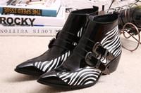 Wholesale zebra high boots - Winter Shoes Genuine leather Men Pointed Toe Buckle Men's Dress Boots zebra strip Men Height Inceased Men's High heels 45 46
