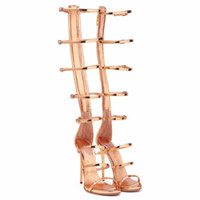 Wholesale open toe boots stiletto for sale - Group buy Summer Sexy Openwork High Heel Sandals Woman Gold Rome Cool Boots Female Open Toe Long Barrel Heel Thin Strap Large Yards Boots Lady