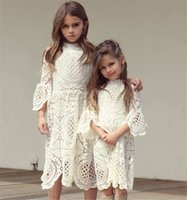 Wholesale Vintage Western Clothing - Girls Lace Ruffles Hollow Out Autumn Dress Western Fashion Vintage Korea Baby Clothing Lovely Kids Fall Clothes b11