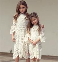 ingrosso veste bambini di corea-Ragazze Pizzo Increspature Scava Fuori Abito autunnale Moda occidentale Vintage Corea Abbigliamento bambino Lovely Kids Autunno Abbigliamento b11