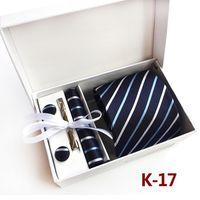 modelos de taobao al por mayor-HOTSALE corbata de boda para hombre con corbata, gemelos, corbata, pañuelo, 1 juego por lote, 40 colores para elegir, embalado por caja / bolsa de regalo