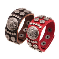 Wholesale skull rivets leather bracelet for sale - Group buy Boho Gypsy Hippie Hiphop Dark Red Brown Real Leather Skull Pattern Rivets Charm Wrap Adjustable Unisex Couple Bracelet Bangle