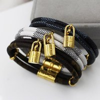 Wholesale Numbered Locks - New fashion double trinket small lock bracelet titanium steel buckle leather bracelet braided nylon with lovers to exchange gifts