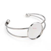 ébauche de lunette en forme de bracelets achat en gros de-Entier sale20 Pcs Antique Bronze Couleur 25mm Photo Pendentif Manchette Bracelet Blanc Branches Lunette Pour Bijoux DIY Bracelet Plateaux