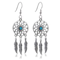 Wholesale china pendant for sale - Group buy Dreamcatcher Eardrop Bohemian Style Fine Quality Antigue Silver Flowers Earrings Pendant With Feathers Diy Decoration Accessories zn jj