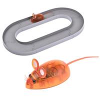 nano maus großhandel-Pet Puppy Cat Elektrische Nano-Maus mit Track Turnplate Spielzeug Teaser Interactive Cats Rotating Toy @ZJF