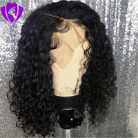 Wholesale blonde afro curly hair for sale - Group buy 14Inches short Afro Kinky Curly Wig Natural Synthetic Front Lace Wigs for Women Black brown burgundy Color Hair Heat Resistant