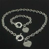 Wholesale 925 silver necklace moonstone - Christmas Gift 925 Silver Love Necklace+Bracelet Set Wedding Statement Jewelry Heart Pendant Necklaces Bangle Sets 2 in 1