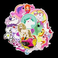 atların çıkartması toptan satış-30 adet Bardian Karikatür Duvar Sticker Unicorn At Desen Çıkartmaları Için Bavul Kaykay Araba PVC Çıkartmalar Dekor Çok Renkler 4 5sd YY