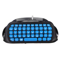 mavi kablosuz kumanda toptan satış-2.4G Slim Pro Kablosuz Klavye Bluetooth Chatpad Adaptörü PlayStation PS4 Denetleyici Oyun Klavyeler Mavi 3.7 V ABS
